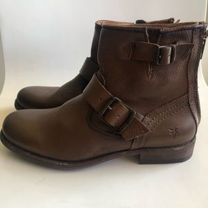 Frye brown leather moto boots sz 6 NWT G7